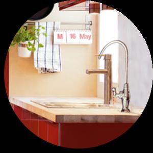 Ambientazione cucina con rubinetto a una via per BWS-easy